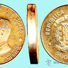 Monedas antiguas de América: REP. DOMINICANA.-1976 PRUEBA PIEFORT BRONCE DORADO,500 PESOS VIAJE DE LOS REYES DE ESPAÑA. 43,7 GR.. Lote 33214704