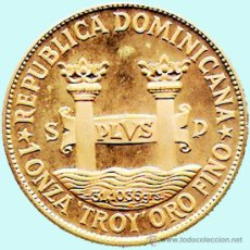 Monedas antiguas de América: REP. DOMINICANA.-1977 1 ONZA TROY ORO FINO - PRUEBA PIEFORT BRONCE DORADO 200 PESOS 42,7 GR. PROOF. Lote 33242325