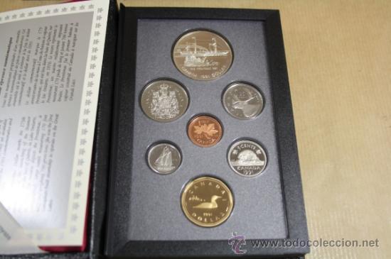 ESTUCHE CANADA CALIDAD PROOF 7 MONEDAS 1991 INCLUYE DOLLAR DE PLATA (Numismática - Extranjeras - América)