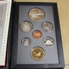 Monedas antiguas de América: ESTUCHE CANADA CALIDAD PROOF 7 MONEDAS 1991 INCLUYE DOLLAR DE PLATA. Lote 33819906