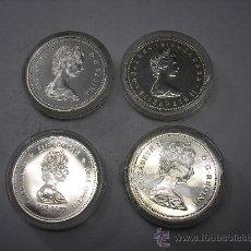 Monedas antiguas de América: 4 MONEDAS DE PLATA DE 1 DOLAR DE CANADÁ. DISTINTAS. Lote 34023462