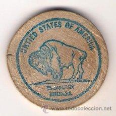 Monedas antiguas de América: WOODEN NICKEL - MONEDA DE MADERA DE 5 CENT $. Lote 34071611