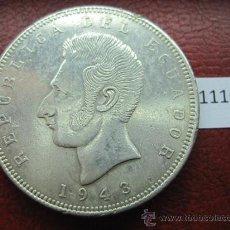 Monnaies anciennes d'Amérique: ECUADOR , 5 SUCRES DE PLATA 1943 A , MEXICO , MEJICO. Lote 34640901