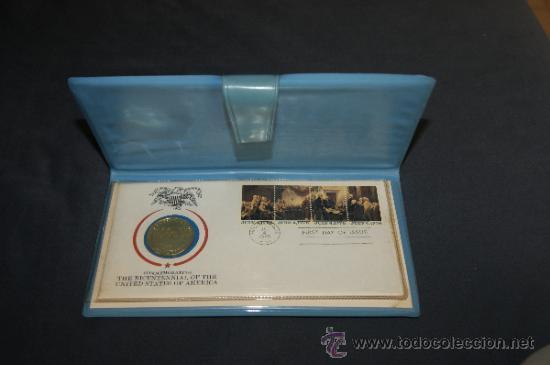 RARA MONEDA EN PLATA DORADA DE BICENTENARIO DE ESTADOS UNIDOS. CERTIFICADA. 1976. (Numismática - Extranjeras - América)