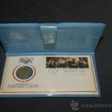 Monedas antiguas de América: RARA MONEDA EN PLATA DORADA DE BICENTENARIO DE ESTADOS UNIDOS. CERTIFICADA. 1976.. Lote 34675315