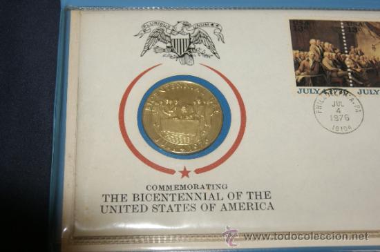 Monedas antiguas de América: Rara moneda en plata dorada de bicentenario de Estados Unidos. Certificada. 1976. - Foto 2 - 34675315