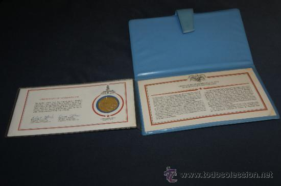 Monedas antiguas de América: Rara moneda en plata dorada de bicentenario de Estados Unidos. Certificada. 1976. - Foto 4 - 34675315