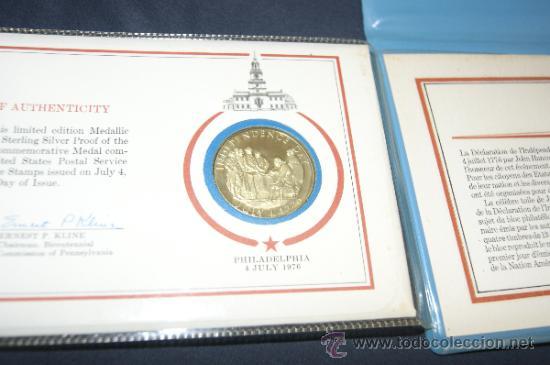 Monedas antiguas de América: Rara moneda en plata dorada de bicentenario de Estados Unidos. Certificada. 1976. - Foto 5 - 34675315