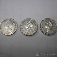 Monedas antiguas de América: 3 MONEDAS DE PLATA DE 10 CTVO. REPUBLICA DOMINICANA. DISTINTAS FECHAS. Lote 88348799