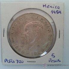 Monedas antiguas de América: MONEDA DE PLATA - 5 PESOS - MÉXICO - AÑO DE CARRANZA - ESTADOS UNIDOS MEXICANOS - 1959 - EBC . Lote 37329881