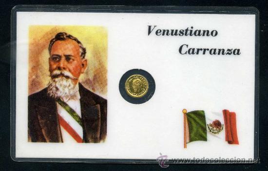 CARNET CON PEQUEÑA MONEDA DE ORO ( VENUSTIANO CARRANZA ) .. (Numismática - Extranjeras - América)