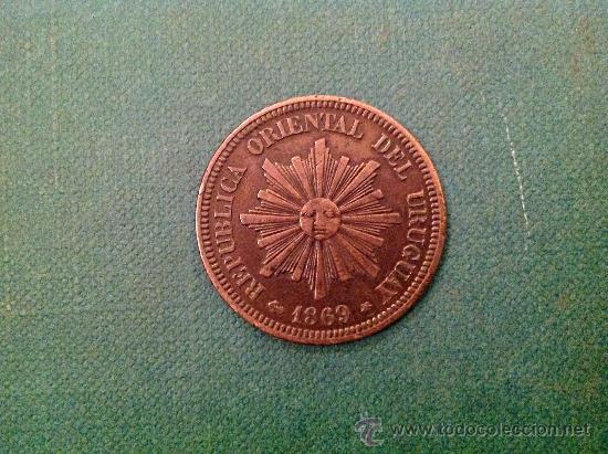 MONEDA DE URUGUAY; 2 CENTÉSIMOS; 1869. (Numismática - Extranjeras - América)