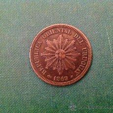 Monedas antiguas de América: MONEDA DE URUGUAY; 2 CENTÉSIMOS; 1869.. Lote 38015777