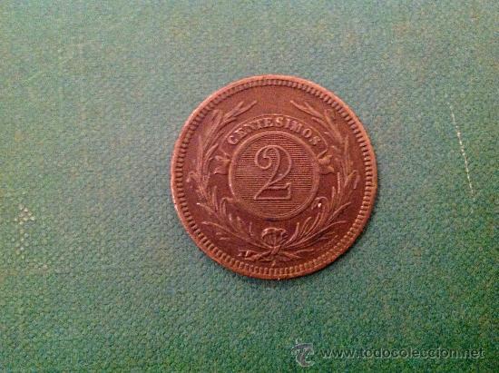 Monedas antiguas de América: Moneda de Uruguay; 2 centésimos; 1869. - Foto 2 - 38015777
