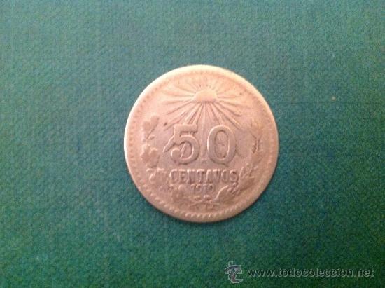 MONEDA DE 50 CENTAVOS DE PLATA; 1919 (Numismática - Extranjeras - América)