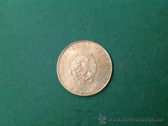 Monedas antiguas de América: Moneda de $10.00 (Hidalgo); 1956; Plata 0.900 Diámetro 4CM - Foto 2 - 38016154