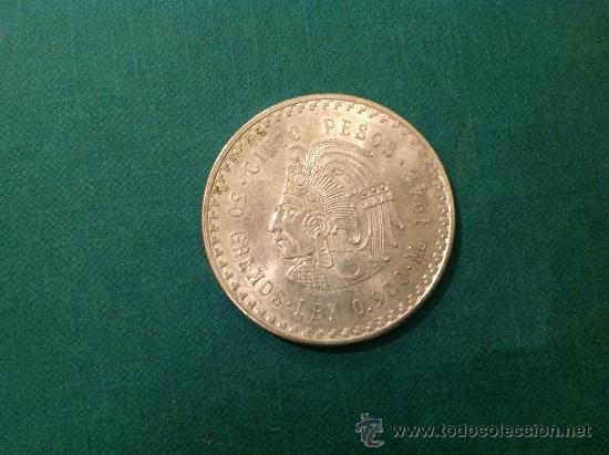 MONEDA DE 5 PESOS DE CUAUHTEMOC; PLATA DE LEY .900; 1948 DIÁMETRO 4CM (Numismática - Extranjeras - América)