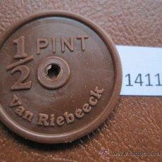 Monedas antiguas de América: FICHA SUDAFRICA, 1/2 PINTA DE LECHE, VAN RIEBEECK, TOKEN, JETON. Lote 38167970