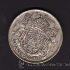 Monedas antiguas de América: 50 CENTS DE 1943 CON LA EFIGIE DEL REY JORGE VI - CANADÁ. Lote 38229078
