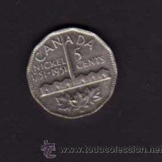 Monedas antiguas de América: 5 CENTS NIQUEL DE 1951 CON LA EFIGIE DEL REY JORGE VI - CANADÁ. Lote 38229911