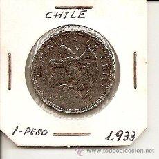 Monedas antiguas de América: BUSCADA Y ESCASA MONEDA REPÚBLICA DE CHILE 1 PESO 1933. 10,20GR-28MM. MBC+. Lote 38395451