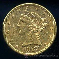 Monedas antiguas de América: U.S.A. (ESTADOS UNIDOS) - 5 DOLARES DE ORO - 1887 S EBC-. Lote 39149577