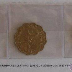 Monedas antiguas de América: MONEDAS DE PARAGUAY DE 1953: 15 CENTIMOS, 25 CENTIMOS Y 50 CENTIMOS. Lote 39347125