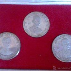 Monedas antiguas de América: ESTUCHE DE TRES MONEDAS DE PLATA DE CUBA DE 1977 DE 20 PESOS. Lote 39459391