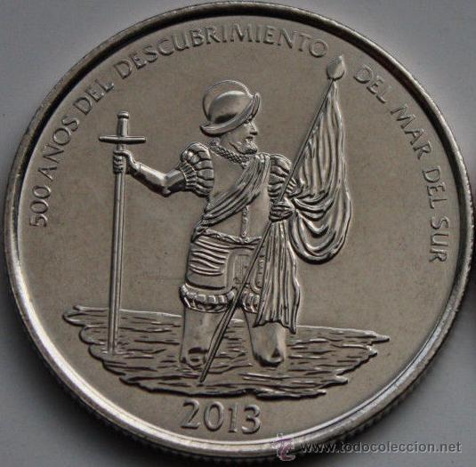 PANAMA 1/2 BALBOA 2013 CONJUNTO MONUMENTAL DE PANAMA VIEJO ( NUÑEZ DE BALBOA ) (Numismática - Extranjeras - América)