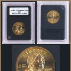 Monedas antiguas de América: SACAGAWEA 1 DOLLAR USA 2000 P DORADA SIN CIRCULAR CERTIFICADA EN CAPSULA. Lote 87521750