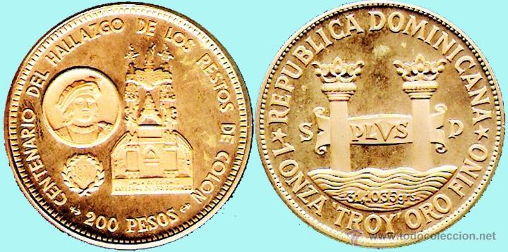 REP. DOMINICANA.-1977 1 ONZA TROY ORO FINO - PRUEBA PIEFORT BRONCE DORADO 200 PESOS 42,7 GR. PROOF . (Numismática - Extranjeras - América)