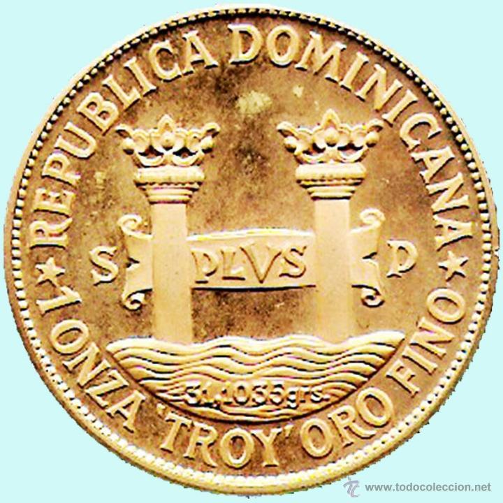 Monedas antiguas de América: REP. DOMINICANA.-1977 1 ONZA TROY ORO FINO - PRUEBA PIEFORT BRONCE DORADO 200 PESOS 42,7 GR. PROOF . - Foto 2 - 41269352