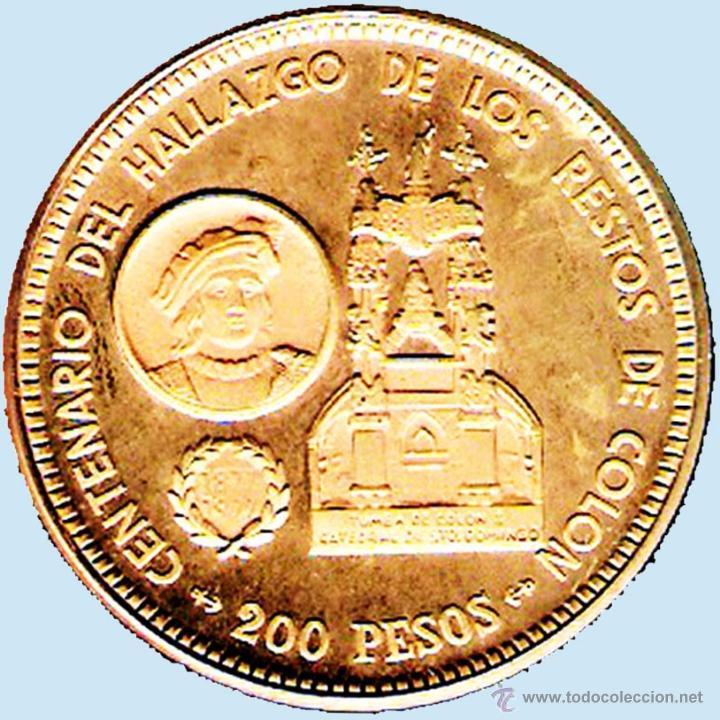 Monedas antiguas de América: REP. DOMINICANA.-1977 1 ONZA TROY ORO FINO - PRUEBA PIEFORT BRONCE DORADO 200 PESOS 42,7 GR. PROOF . - Foto 3 - 41269352