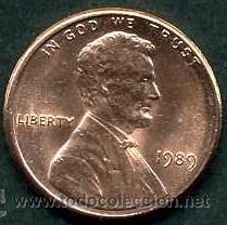 ESTADOS UNIDOS 1 CENT DE 1989 ( ABRAHAN LINCOLN ) (Numismática - Extranjeras - América)