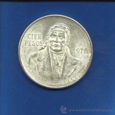Monedas antiguas de América: MEXICO 100 PESOS 1978 PLATA. Lote 42070447