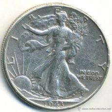 Monedas antiguas de América: USA MEDIO DOLAR 1943. LIBERTY. HALF DOLLAR. PLATA. Lote 42208643