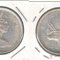 Monedas antiguas de América: MONEDA DE 25 CÉNTIMOS DE CANADÁ DE 1965 DE LA REINA ISABEL II. PLATA. EBC. (ME784).. Lote 42219705