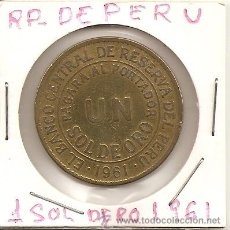 Monedas antiguas de América: BUSCADA MONEDA EN COBRE EL BANCO CENTRAL DE RESERVA DEL PERU1961PAGARA AL PORTADOR UN SOL DE ORO.EBC. Lote 42486773