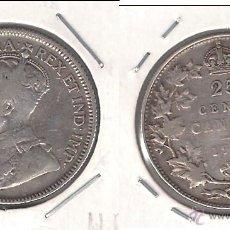 Monedas antiguas de América: MONEDA DE 25 CÉNTIMOS DE CANADÁ DE 1936 DEL REY JORGE V. PLATA. BUENA CONSERVACIÓN. (ME781).. Lote 42774040