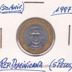 Monedas antiguas de América: REPUBLICA DOMINICANA 5 PESOS 1997. Lote 42865682