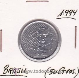 BRASIL 50 CENTAVOS 1994 (Numismática - Extranjeras - América)