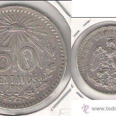 Monedas antiguas de América: MONEDA DE 50 CENTAVOS DE LOS ESTADOS UNIDOS DE MÉJICO DE 1919. PLATA. MBC. (ME1042).. Lote 43136807