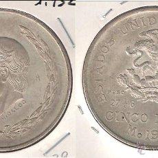 Monedas antiguas de América: MONEDA DE 5 PESOS DE LOS ESTADOS UNIDOS DE MÉJICO DE 1952. PLATA. EBC+ (ME1046).. Lote 43396699