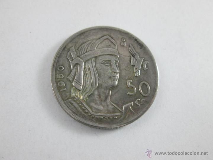 Aª MONEDA-MÉXICO-50 CENTAVOS-PLATA-1950-CUAUHTEMOC-BUEN ESTADO-. (Numismática - Extranjeras - América)