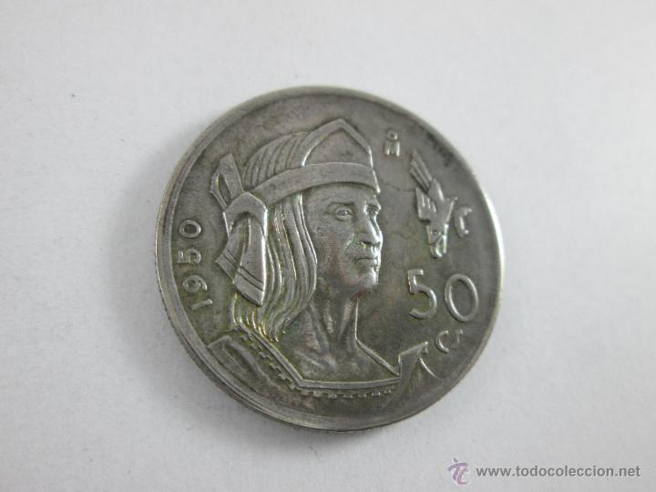 Monedas antiguas de América: Aª MONEDA-MÉXICO-50 CENTAVOS-PLATA-1950-CUAUHTEMOC-BUEN ESTADO-. - Foto 3 - 44889024