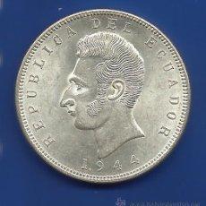 Monedas antiguas de América: ECUADOR 5 SUCRES PLATA 1944. Lote 44987089