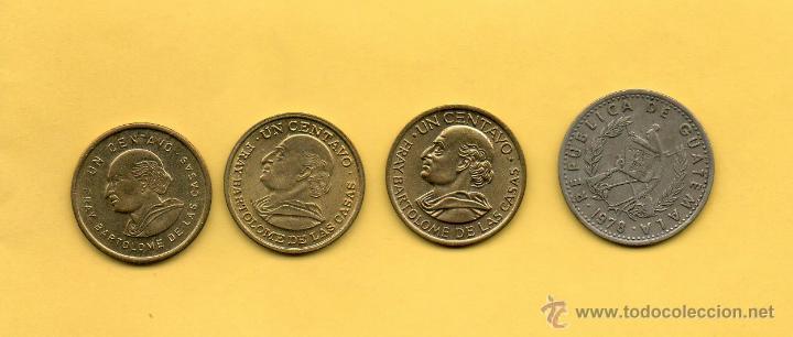 MM. LOTE 4 PIEZAS REPUBLICA GUATEMALA. 1 CENTAVO (3) Y 10 CENTAVOS. QUIRIGUA. FRAY BARTOLOME CASAS (Numismática - Extranjeras - América)