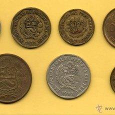 Monedas antiguas de América: MM. LOTE 7 PIEZAS PERU. TUPAC AMARU. VARIOS VALORES Y AÑOS. TODAS DIFERENTES. VER FOTOS.. Lote 45353278