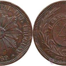 Monedas antiguas de América: *** MUY BONITOS 4 CENTESIMOS DE URUGUAY 1869 A ***. Lote 45517110