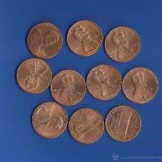 Monedas antiguas de América: LOTE 10 MONEDAS 1 CENTAVO EEUU TIPO LINCOLN FECHAS DIFERENTES SIN CIRCULAR. Lote 45595084